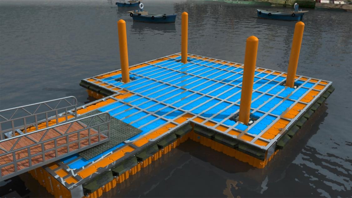 Muelle modular con estructura superior de Aluminio marino