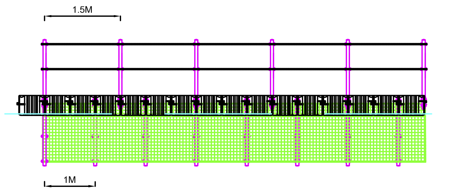 4 Vista lateral barrera flotante de retencion de material para hidroelectrica